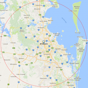 Door Repairs Brisbane Service Area Outline Map